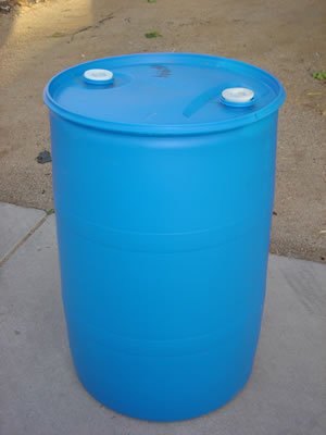 55 Gallon Barrel/Drum Closed Top - Blue - Side View