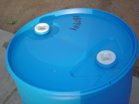 55 Gallon Barrel/Drum Closed Top - Blue - Top View