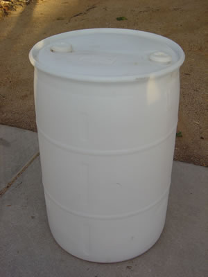55 Gallon Barrel/Drum Closed Top - White - Side View